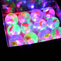 55mm lucency fish crystal flashing light baby kids toys water ball