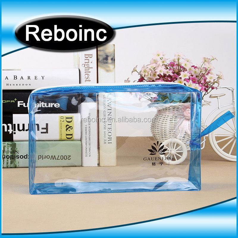 custom clear cosmetic recyclable transparent heat seal side gusset make up plastic pvc zipper bag