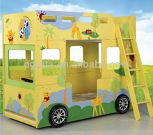 2014 colorful vivid bus bunk bed for kids is made by E1 MDF board and environmental paint