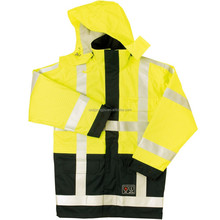comfortable flashing safety raincoat with pockets
