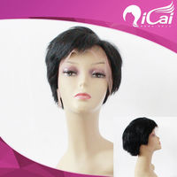 4inch brazilian hair short lace wig,half hand tied lace front wig