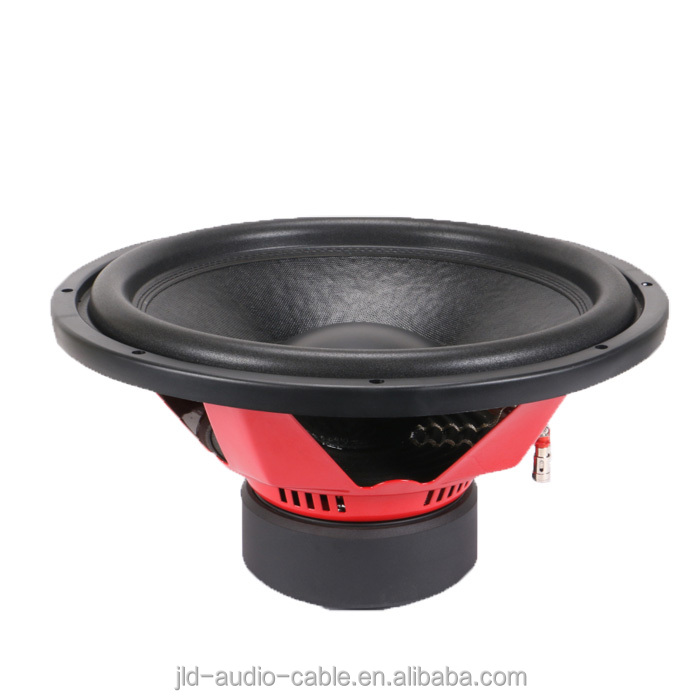 15inch red steel basket 500w rms/1000w max powered speaker subwoofer car audio made in China