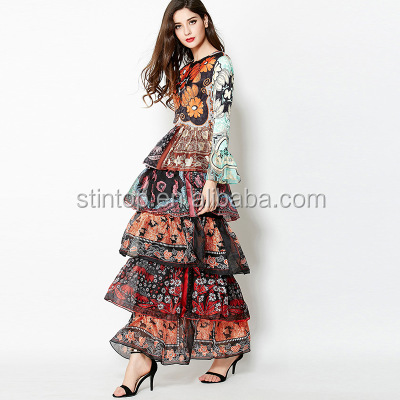 <strong>H001</strong> New fashion Beautiful Women silk dress Layered Horn Sleeve Print Slim Catwalk Dress