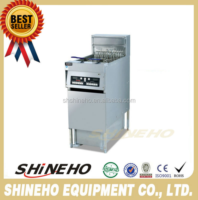 Fast Food Equipment Open Chicken Fryer With Oil Filter Cart