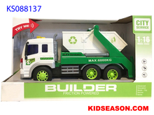 KIDSEASON 1:16 MUSICAL AND LIGHTS UP FRICTION POWER SANITATION GARBAGE RECYCLING TRUCK TOYS - GREEN