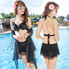 2016 New Korean style swimsuit with shawl pure color swimwear