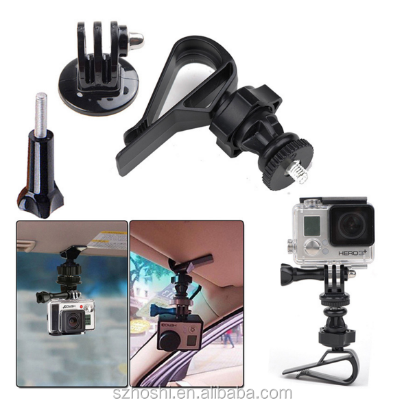 Amazing Gopro Accessories Car Sun Visor gopro Mount Clamp Clip for Gopro Hero 4 3+ 3 SJCAM SJ4000/5000 Xiaomi Yi ActIion Cameras