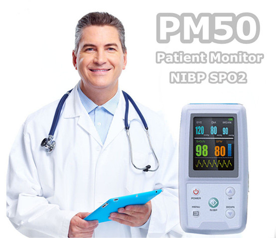 BPM color display New products handheld NIBP/SPO2 automatic ambulatorial blood pressure monitor PM50 with pulse oximeter