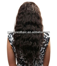 Wholesale top quality virgin remy human hair long wavy full lace wig