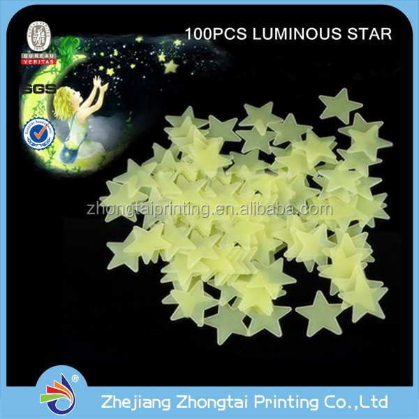 custom diy 3d cartoon kids vinyl luminous stickers printing,glow in the dark star wall sticker for kids room decoration