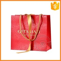 Custom recyclable paper gift bags printing bag with ribbon handles