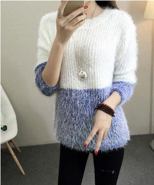 New fround collar emale air conditioning Summer loose large code purity Color Mohair clothing female women sweater