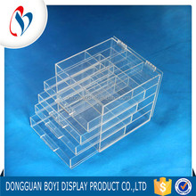 2017 New Design Clear Large Cosmetic Makeup Acrylic Plastic Storage Drawers