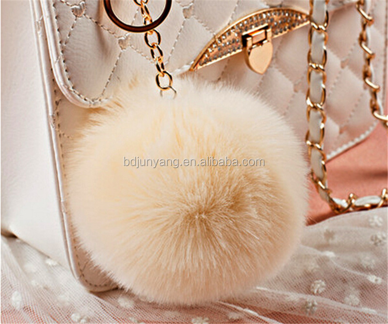 handmade craft bag accessories fake fur ball pom poms keychain fur pompoms keyring for bag charm