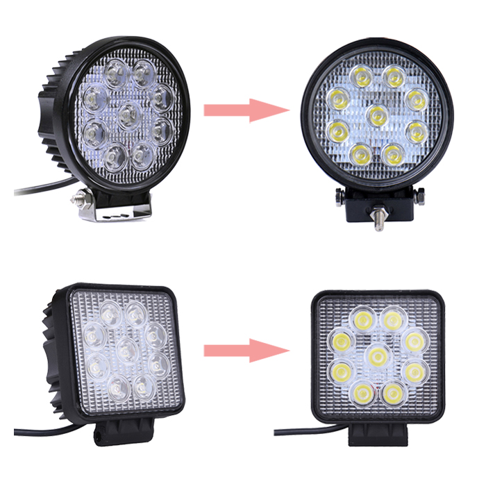 Round/ Square 27W Factory Wholesale Auto Parts Led Work Lights, Car Accessories Led Work Light