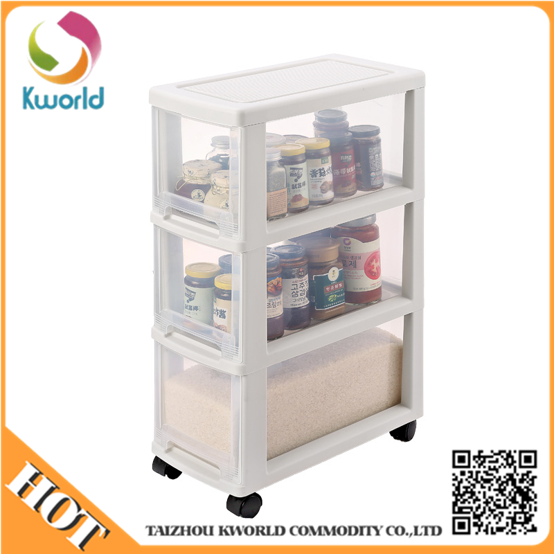 Hot sale 3-tier plastic drawer food storage box for kitchen cabinet organizer