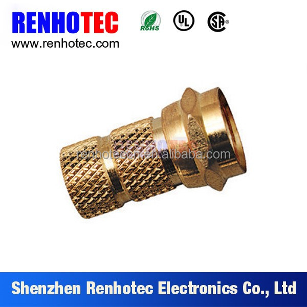 75 ohm vertical male gold plated f connector rg 6