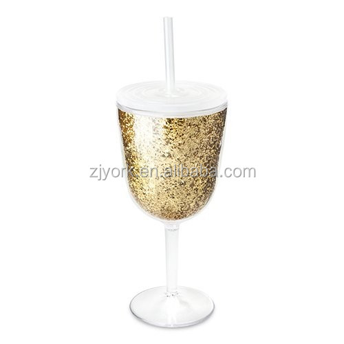 Plastic Tumbler Wine Goblet Gel Cup with Lid and Straw 350ml
