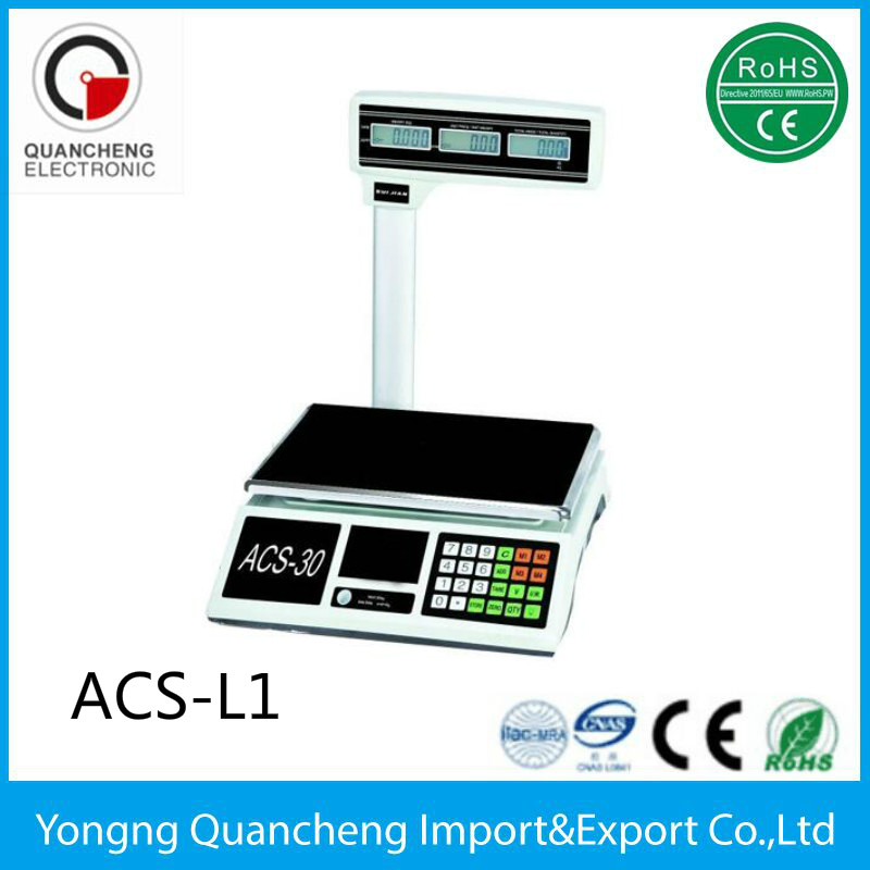 Yongkang Supply 30kg 40kg Trade Approved Scales Electronic Price Computing Scale with Pole