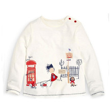 Fashion Children Clothes Kids White Cute Printing Long Sleeve T shirts Girls Tops