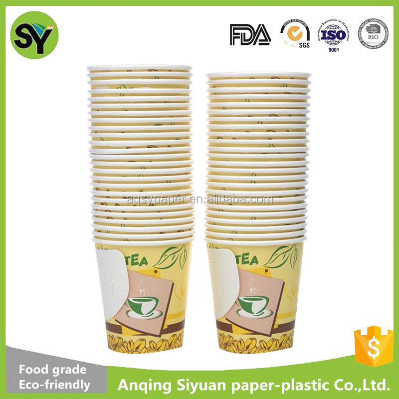 Export to U.A.E factory direct sale bottom price paper coffee cups with handle 7oz