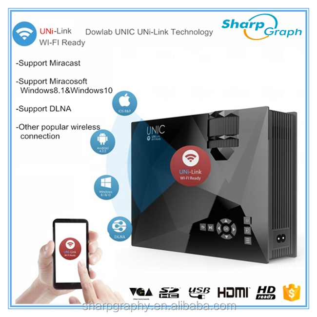 Projector Manufacturer UNIC 1200Lumens Mini HDMI LED Wifi Video Projector Mobile Phone UC46