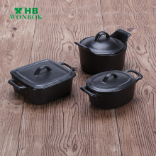 Japanese style black various porcelain cookware casserole dish with lid