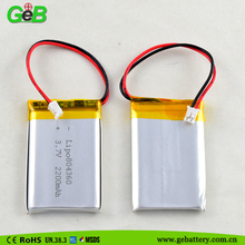 2200mah li-ion lithium polymer battery 3.7v 804360 li-po battery for digital audio player/digital thermometer/portable DVD