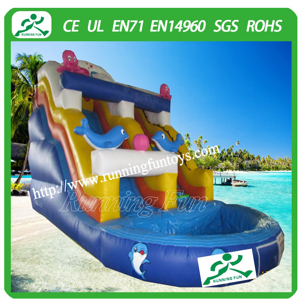 Running fun inflatable water slide clearance used swimming - Used swimming pool slides for sale ...