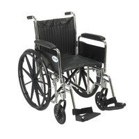 "Chrome Sport Wheelchair, Detachable Full Arms, Swing away Footrests, 18"" Seat"