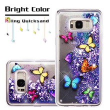 Butterfly Dancing Purple Quicksand Hearts Glitter Hybrid Quicksand Liquid TPU Phone Cover Case For Samsung Galaxy S8