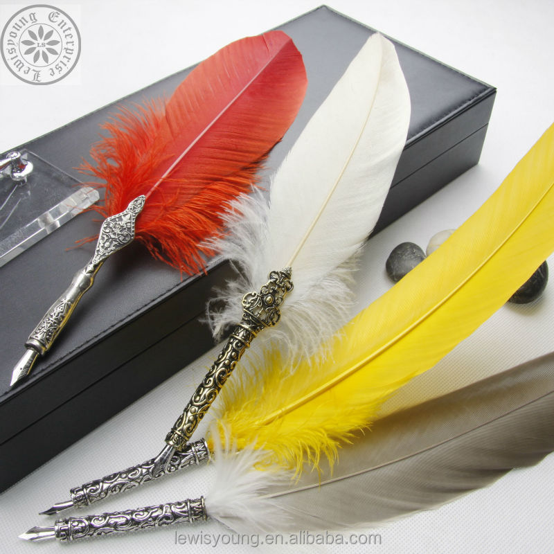 Personalized Feather Quill Pen Set Wedding gift Business gift Fountain Dip Nib Ink Bottle