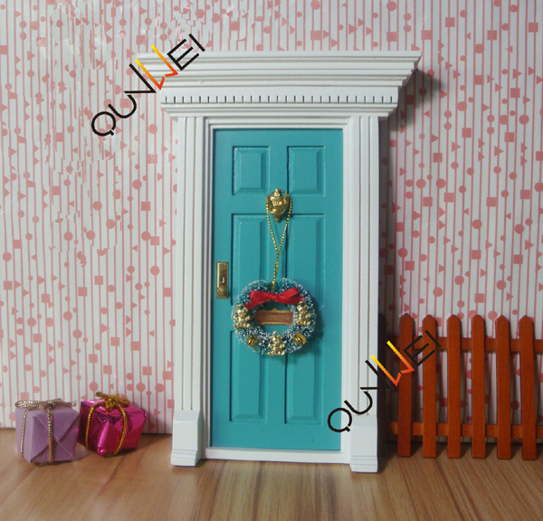Wholesale price - Wooden Mini Door Fairy Door Colorful miniature door (Blue) QW60203-3
