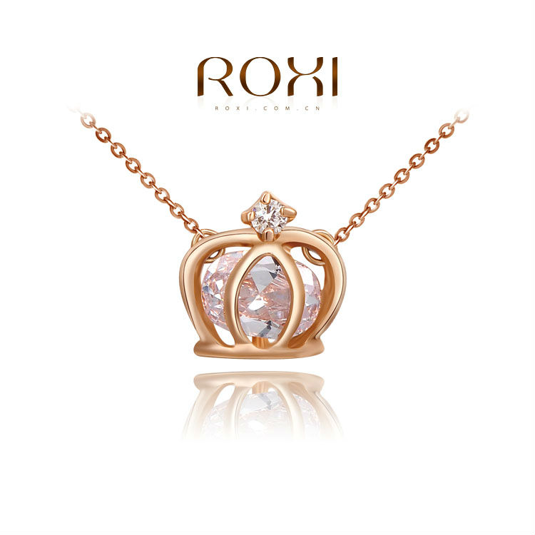 2015 ROXI Fashion jewelry Ladies Statement Crown Pendant Necklaces Rose Gold Plated Jewelry Paving Austrian <strong>Crystal</strong>