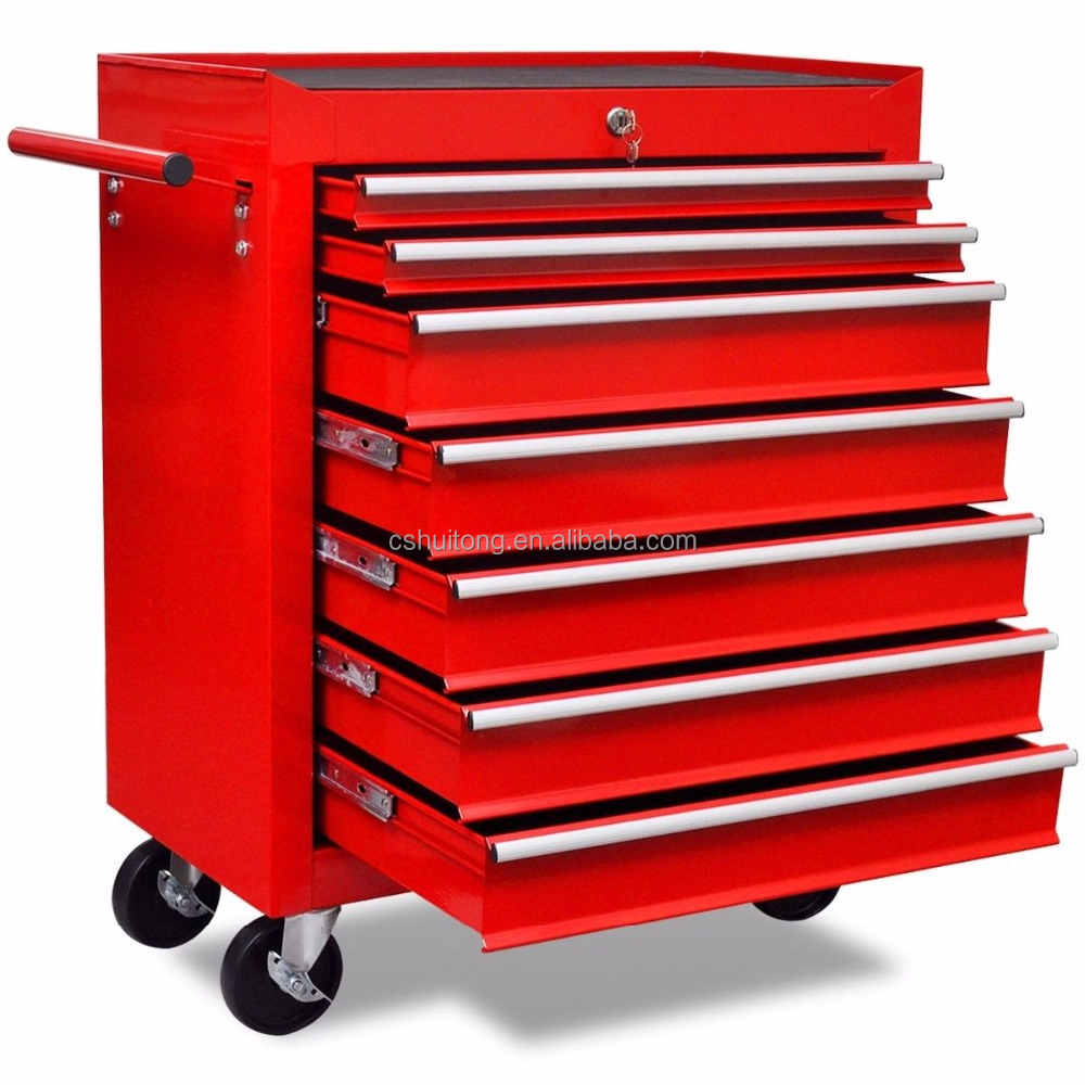 Wholesales 26 inch metal professional movable BBS 7 Drawer Mechanic Toolbox Chest Trolley Cabinet With Wheels