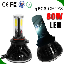Built-in canbus 40Wx2 LED Headlight for all cars h3 h4 h7 h13 9005HB3 9006 Front Head light bi 12V24v 8000lm fan car head light