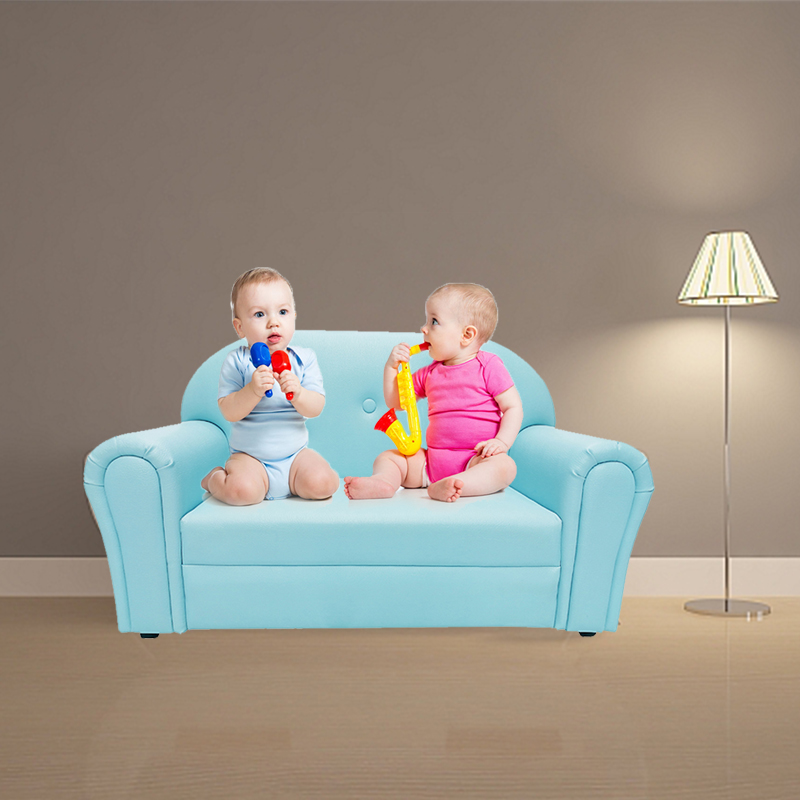 Low Price Luxury Kids Pu Leather Blue Chinese Sofa