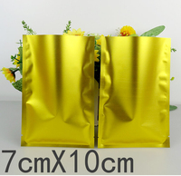 Size 7*10cm Small Yellow Aluminum Foil heat seal flat bags Wholesale vacuum plastic bags for food packaging