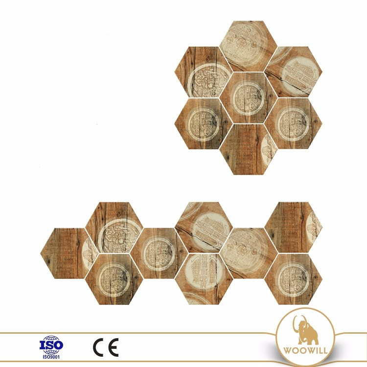 Antique Wood Grain Ceramic Hexagon Tile 200 X 230 Mm