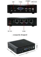 Multi NIC Celeron Qual-Core Fanless compact PC for thin client