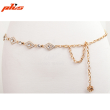 Adjustable Fashion Ladies Waist Gold Metal Chain Belt Womens Crystal Belt for Dress