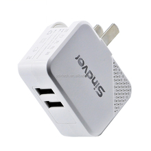 Dual USB port wall charger Travel USB charger with Folding US plug