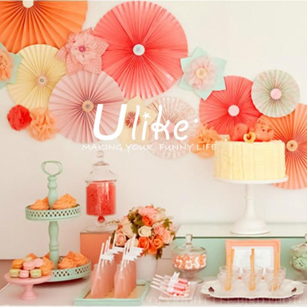 Popular tissue paper fans ceiling decoration inflatable for Baby birthday decoration images