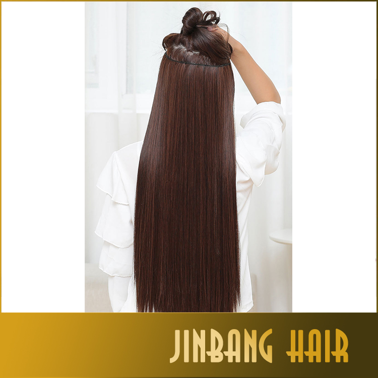 60cm length Super Long hairpieces synthetic Hair Natural straight 5 clips in on hair extensions Blonde Black dark light Brown