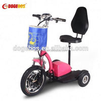 3 wheels powered scooters for handicapped people with front suspension for adult