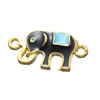 11.4*22.6mm Black Alloy Enamel Jewelry Links Indian Elephant Connector