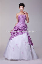 SJ1727 new design strapless taffeta organza ankle length embroidery beaded ball gown white and purple evening dress