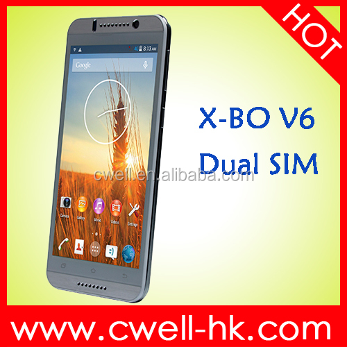 X-BO V6 Android Smartphone 5.5inch Dual Quad Dual SIM Wholesale Price Cheap 3G Mobile Phone with Wifi