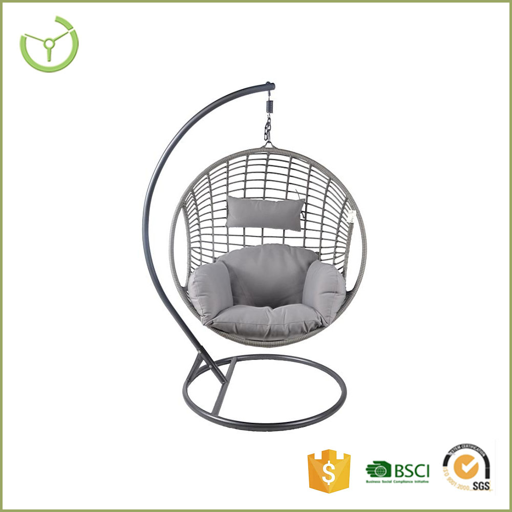 Outdoor patio rattan wicker hanging egg swing chair with metal stand