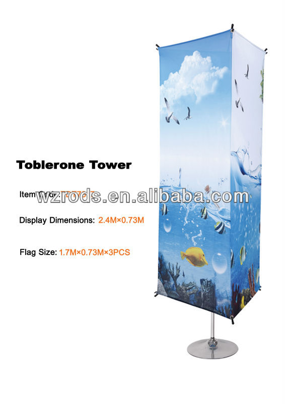 Toblerone Tower, New Flag of Carbon Frame Beach Flag With Spike & Sublimation Flag.